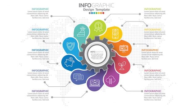 あなたのデザインのステップとプロセスを持つインフォグラフィックテンプレート。