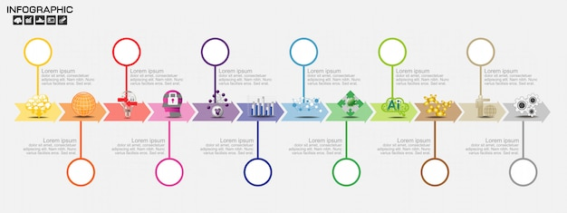 Хронология инфографика дизайн шаблона с параметрами, схема процесса