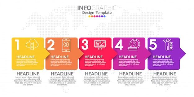Пять шагов сроки инфографики дизайн вектор и значки