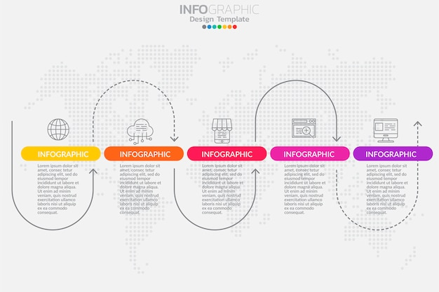 Пять шагов сроки инфографики дизайн вектор