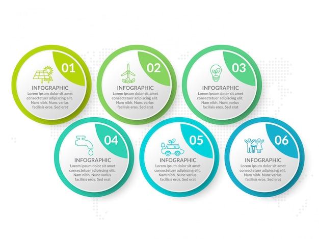 Инфографики шаблон дизайна с шестью вариантами цвета.