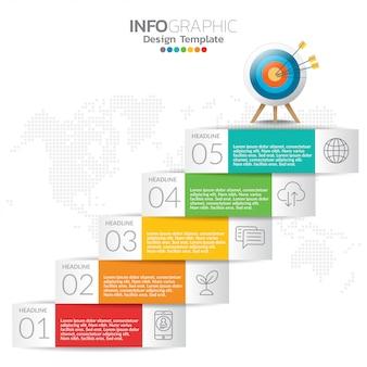 コンテンツ、タイムライン、ワークフロー、グラフのインフォグラフィック要素。
