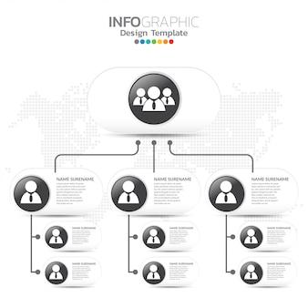 Корпоративный график с иконами деловых людей.