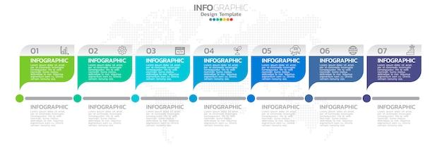 Хронология инфографика с шагами и маркетинговые иконки