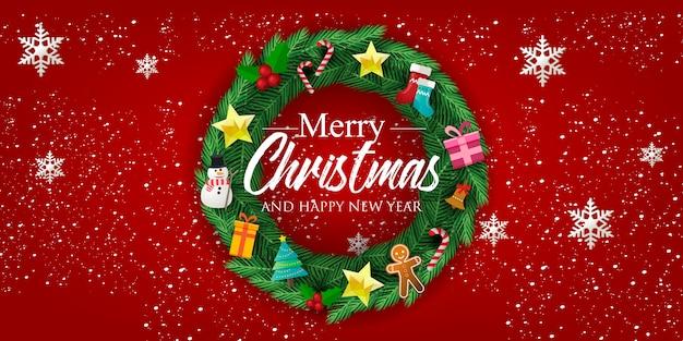 Рождественский баннер с рождественским венком и украшениями