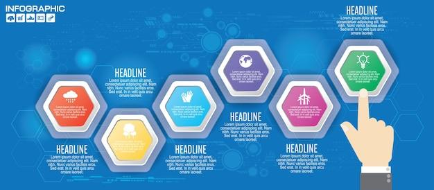 Инфографический шаблон для раскладки рабочего процесса