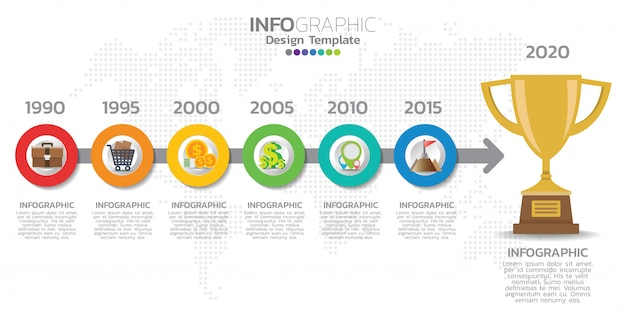 Шаблон инфографики временной шкалы со стрелками, блок-схемой, документооборотом или инфографикой процесса.
