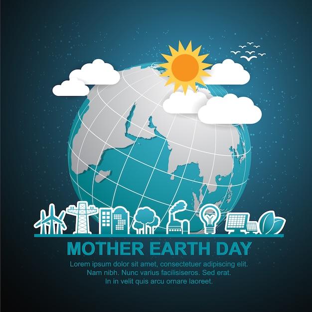 地球と緑の母地球日コンセプト。