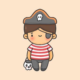 海賊少年の子供の衣装ハロウィーンの手描きの漫画のスタイル