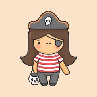 海賊の女の子の衣装ハロウィーンの手描きの漫画のスタイル