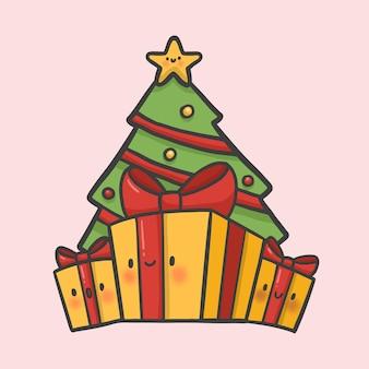 クリスマスツリーと贈り物手描きの漫画スタイルベクトル