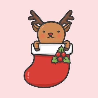 靴下でかわいいトナカイクリスマスの手描きの漫画のスタイルベクトル