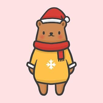 ベアコスチュームセータークリスマスの手描きの漫画のスタイルベクトル