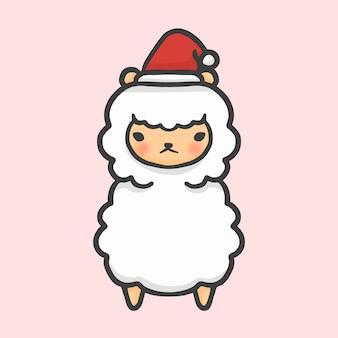 かわいいアルパカの衣装クリスマスの手描きの漫画のスタイルベクトル