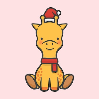 かわいいキリンの衣装クリスマスの手描きの漫画のスタイルベクトル