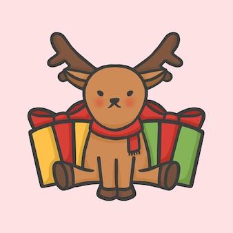 かわいいトナカイとギフトボックスクリスマスの手描きの漫画のスタイル