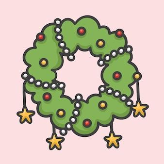 クリスマスの花の花輪の装飾の手描きの漫画のスタイル