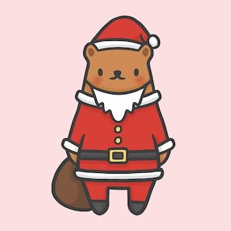 かわいいクマの衣装サンタクロースクリスマスの手描きの漫画のスタイル