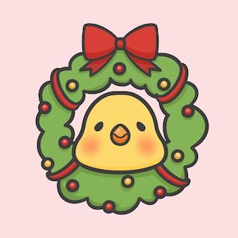 クリスマス花の花輪の装飾と鳥の手描きの漫画
