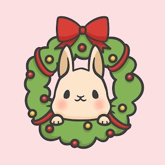 クリスマスの花輪の装飾とウサギの手描きの漫画