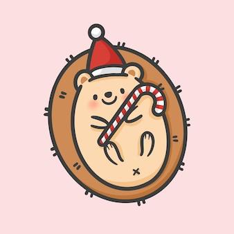 かわいいヘッジホッグの衣装クリスマスの手描きの漫画のスタイル