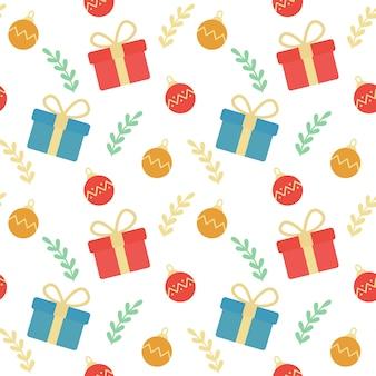 クリスマスギフトボックスと装飾品シームレスなパターンの背景