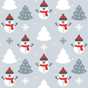 クリスマス雪だるまシームレスパターンの背景
