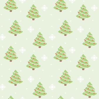 クリスマスツリーと雪シームレスなパターンの背景