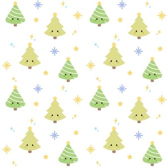 クリスマスツリーシームレスなパターンの背景