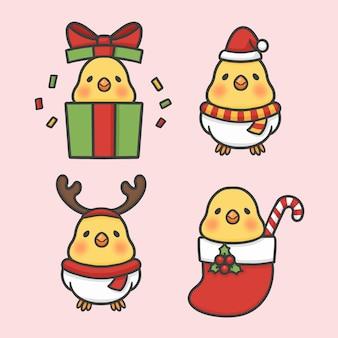 かわいい鳥セット衣装クリスマスの手描きの漫画ベクトル