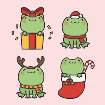 かわいいカエルセットの衣装クリスマスの手描きの漫画ベクトル