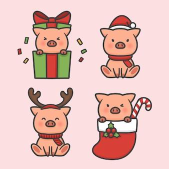 かわいい豚セット衣装クリスマスの手描きの漫画ベクトル