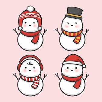 かわいい雪だるまクリスマス手描きの漫画ベクトル