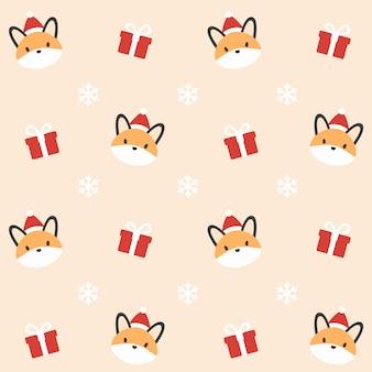 クリスマスフォックスシームレスパターンの背景