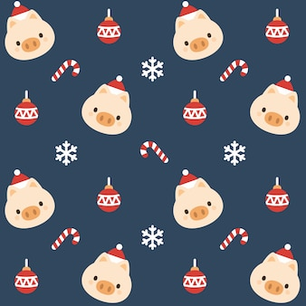 クリスマスピッグシームレスパターンの背景