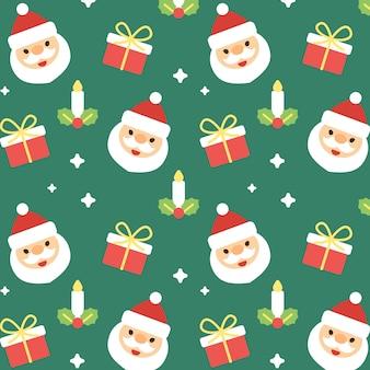 クリスマスサンタクロースのシームレスなパターンの背景