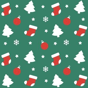 クリスマスソックスと装飾シームレスパターンの背景