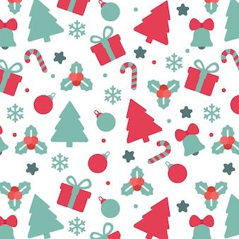 クリスマスの要素シームレスなパターンの背景