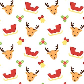 クリスマストナカイとおしゃれなパターンの背景