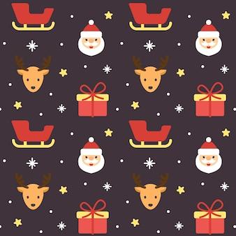 クリスマスサンタクレアとトナカイシームレスパターン