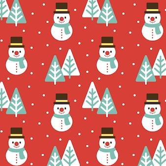 クリスマスの雪だるまと木シームレスなパターンの背景