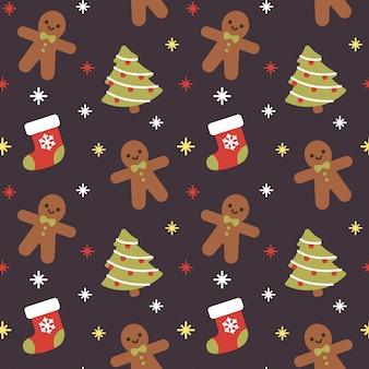 クリスマスソックスとジンジャーブレッドのシームレスなパターンの背景