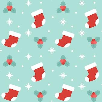 クリスマスソックスシームレスなパターンの背景