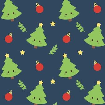 クリスマスツリーと装飾シームレスパターンの背景