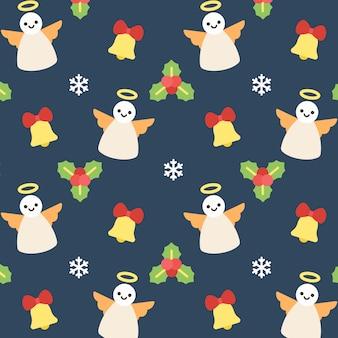 クリスマスエンジェルシームレスパターンの背景