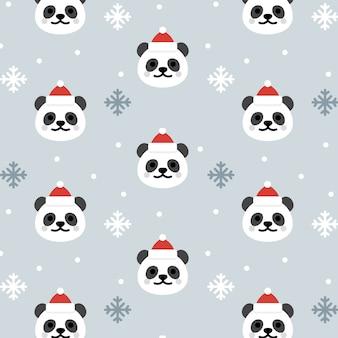 クリスマスパンダシームレスパターンの背景