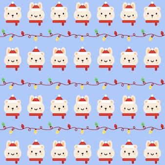 クリスマスウサギとクマのシームレスなパターンの背景