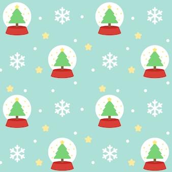 クリスマススノーボールグローブシームレスパターンの背景