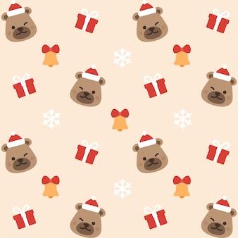 クリスマステディベアシームレスなパターンの背景