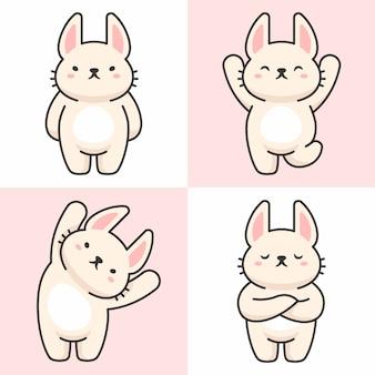 Векторный набор символов милый кролик